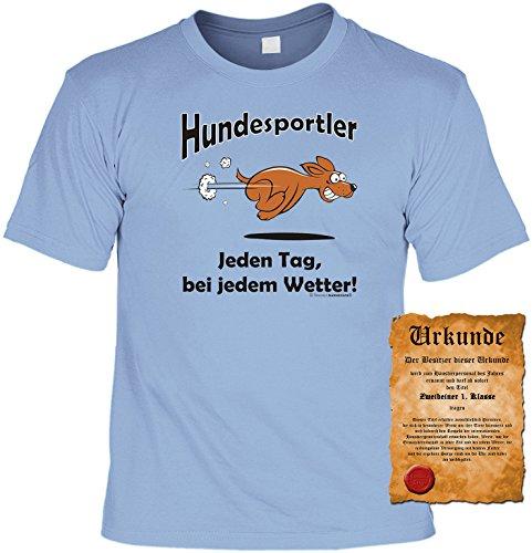 Sprüche Motiv Fun T-Shirt mit gratis Spass-Urkunde Geburtstags-Weihnachts-Vatertags-Geschenk viele tolle witzige-Hunde-Motive Übergrößen 3XL 4XL 5XL blau-10
