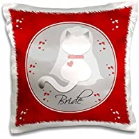 Red Marbled Siamese Kitty Cat Wedding Bride-Pillow Case, 16 by 16