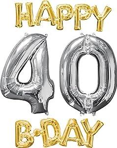 Amscan International 3606501 Happy Birthday 4-0 - Globo, Color Dorado y Plateado