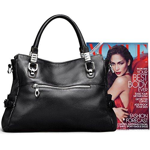 S-ZONE borse in vera borsa da donna e borse da viaggio in borsa per borse da donna in pelle traspirante borsa a tracolla (marrone) Nero
