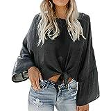 Milktea Damen Tops Bluse Mode Design Frauen Damen Casual Tops Bluse Langarm Verband O ansatz Tops Bluse Pullover Shirt