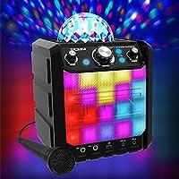 ION Audio Party Rocker Express - Altavoz Bluetooth para Fiestas y Karaoke con Batería de 40W y Centro de Karaoke con Pantalla de Luz de Fiesta en formato Domo, Rejilla De Luz LED Y Micrófono