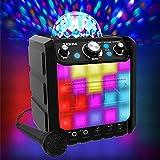 ION Audio Party Rocker Express - Sistema Portatile di Altoparlanti da 40 W, a Batteria e Impianto Karaoke con Cupola Luminosa, Griglia a Luci LED e Microfono