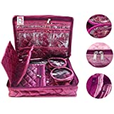 atorakushon® Satin Purple Multipurpose Make Up Pouch Jewellery Cosmetic Organizer Necklace Pouches Traveling Kit for Women's