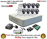 #6: Hikvision 2MP DS-7108HQHI-F1 8CH DVR 1Pcs, Full HD 2MP DS-2CE16DOT-IR Bullet Camera 8Pcs + 2TB HDD + Active Cable Full Combo