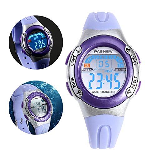 NICERIO PASNEW PSE-226 impermeables niños chicos chicas LED Digital deportes reloj con alarma de fecha...