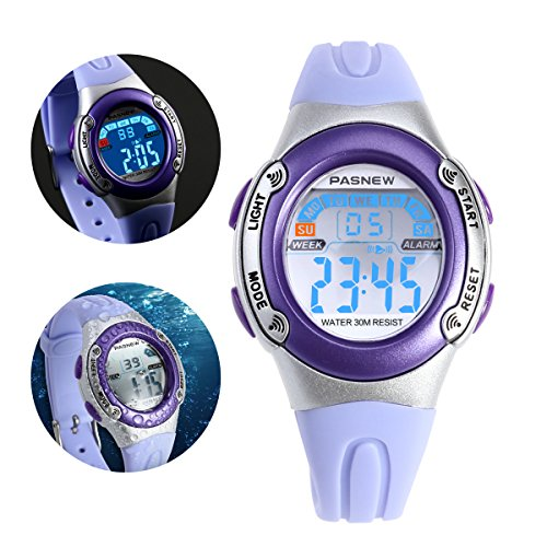 NICERIO PASNEW PSE-226 impermeables niños chicos chicas LED Digital deportes reloj con alarma de fecha /Stopwatch (luz violeta)