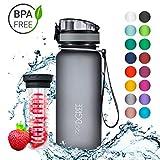 720°DGREE Trinkflasche 'uberBottle' - 650 ml, 0,65 l, Grau | Neuartige Tritan Wasser-Flasche | Water Bottle BPA Frei | Ideale Sportflasche für Kinder, Fitness, Fahrrad, Sport, Fussball