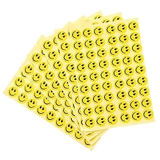 EROSPA® 324 Stück Smiley Sticker   Aufkleber Rund Ø 15 mm - 6 Blatt - Lächelnd - Gelb