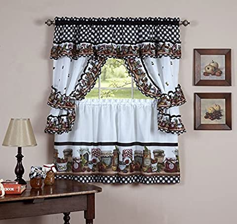 Naturally Home Mason Jars Kitchen Curtain Cottage Set, Tiers and Ruffled Swag, 24-Inch Long and Swag Top by naturally home