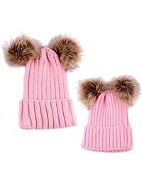 MagiDeal 2pz Cappello Caldo Del Beanie Maglia Crochet Cappellini per Mamma  e Neonato 5686bb0d5cee