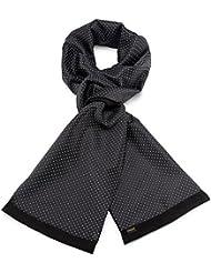 Mailando Herrenschal aus Kaschmir-Woll-Mix und Seide, Kachel Muster gepunktet, sehr elegant, schwarz – weiss