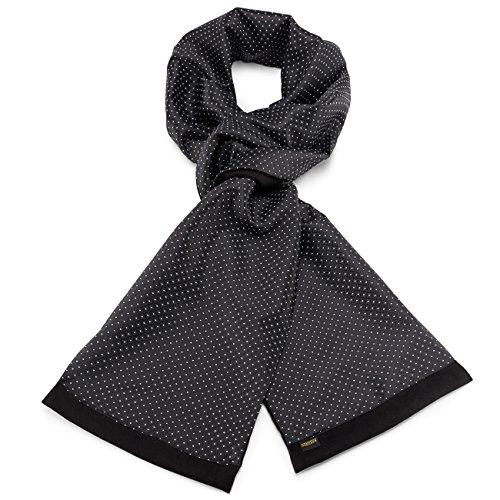 Mailando Herrenschal aus Kaschmir-Woll-Mix und Seide, Kachel Muster gepunktet, sehr elegant, schwarz - weiss