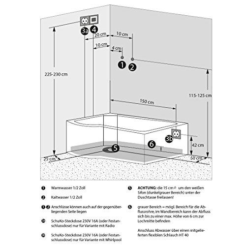 AcquaVapore DTP8055-A007R Whirlpool Wanne Duschtempel Dusche Duschkabine 98×170, EasyClean Versiegelung der Scheiben:2K Scheiben Versiegelung +79.-EUR - 5