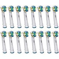 16 kongkay® Set di testine per spazzolino da denti ricaricabili-FlossAction EB25, compatibile with Braun Oral-B/Vitality Precision Clean, White Clean, Clean Sensitive, Oral-B Professional Care, numero di modello: EB-25A/SB-25A di (4 x 4PCS)