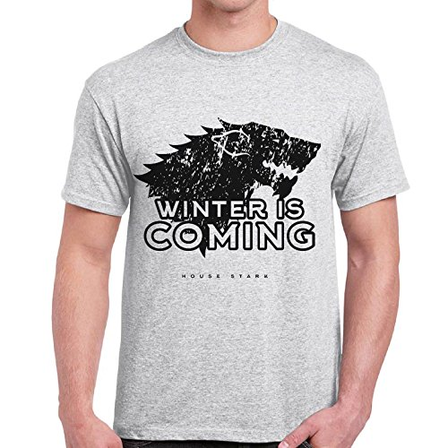 CHEMAGLIETTE! - T-Shirt Game Of Thrones House Stark Winter Is Coming Trono Di Spade Maglietta, Colore: Cenere, Taglia: XXL