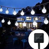 Oledank Solar Lichterkette Garten Globe Außen mit LED Kugel 6m 30er LED 2 Modi Kaltweiß...