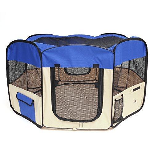 Pawaboo Haustier Lauftgitter - 48cm * 58cm Reißverschluß Hunde Lauftställe Absperrgitter Schutzgitter Welpenlaufstall Tierlaufstall Hundehütte Laufstall mit Außetasche für Hunde, XL Größe, Blau/Khaki