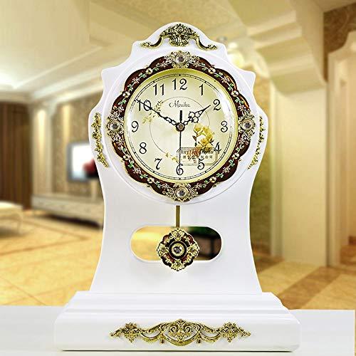 RJJ Europäische Massivholz Kreative Gartenuhren Massivholz Vintage Ornamente Tischuhr Große Leise Elektronische Uhren Großhandel genau (Farbe : White)