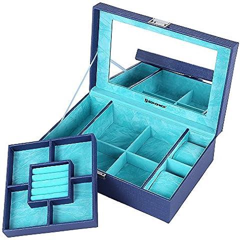 Songmics Caja joyero Organizador para joyerías Multiuso 30 x 19,5 x 9 cm Azul JBC137