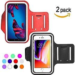 Ycloud [2 Pack] Unisexe Brassard Sport pour Archos 50 Helium Plus, ASUS Zenfone 4 Max/Zenfone 4 Max Pro ZC554KL, Brassard Réglable, Jusqu'à 5.5 Pouces (Rouge+Noir)