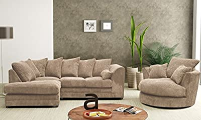 Dylan Dilo Coffee Range Sofas Settees Couches 3 Seaters and 2 Seaters, Corner Sofas, Swivel Chairs, Footstools (Available in Coffee, Grey, Black, Chocolate) by Furniture Stop