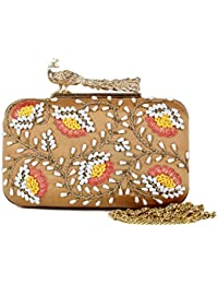 Premium New Latest Designer Ethnic Traditional Beige Colour Beige With Wool Flowers Clutch Clutches For Women/...