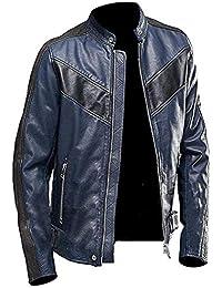 Leatherly Men s Cafe Racer Leather Biker Long Sleeve Black Jacket af39fd87526