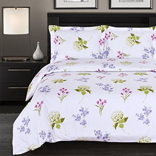 Floral Twin Tröster Set (Blossom Floral duvet-cover-set, 100 Prozent Baumwolle, 300-thread-count, baumwolle, Full/Queen)