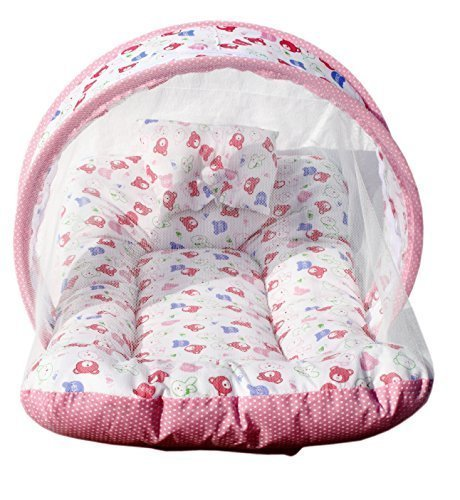 Iblay Mosquito Net For Babies, Bed Cotton - Padded Pillow Infant Mattress Tent Sleepwear Pink