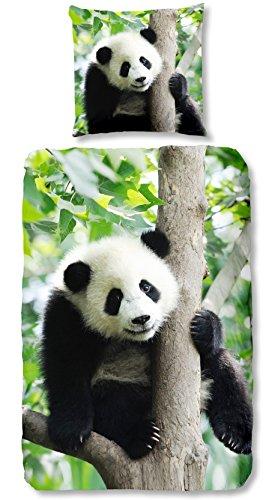 Aminata Kids - Kinder-Bettwäsche-Set 135-x-200 cm Panda-Bär-Motiv Zoo-Tier-e Safari Asien Urwald Dschungel 100-% Baumwolle Renforce grün weis schwarz Teenager-Jugendlich-e