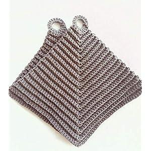 Topflappen 100% Baumwolle gehäkelt ca. 19 x 19 cm in taupe