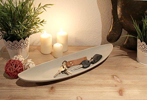 LB H&F Tablett Deko Dekotablett 40 cm GRAU Holz Shabby Schale Teller Landhaus Nostalgie