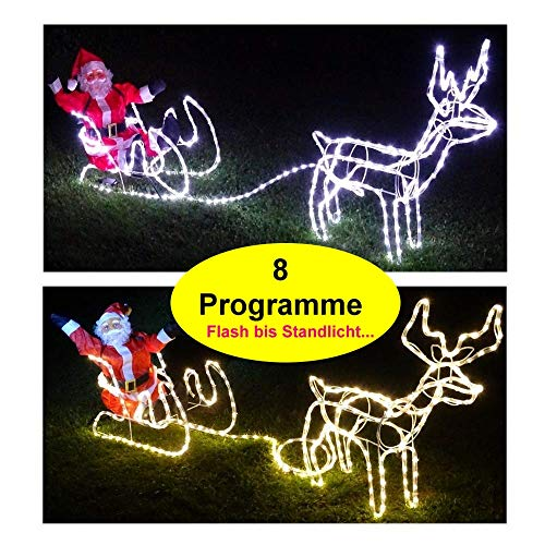 XXL LED**Magic**Rentier+Schlitten+WEIHNACHTSMANN 8 Programme Premium Set kaltweiss o. warmweiss IP44 (warmweiss)