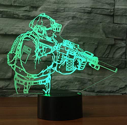 3D Lampe LED Nachtlicht,SUAVER 3D Optical Illusion Lampe Touch Tischlampe 7 Farbwechsel Dekoration Lampe USB Powered Stimmungslicht Skulptur Licht Geburtstags Weihnachts Geschenk (Soldat)