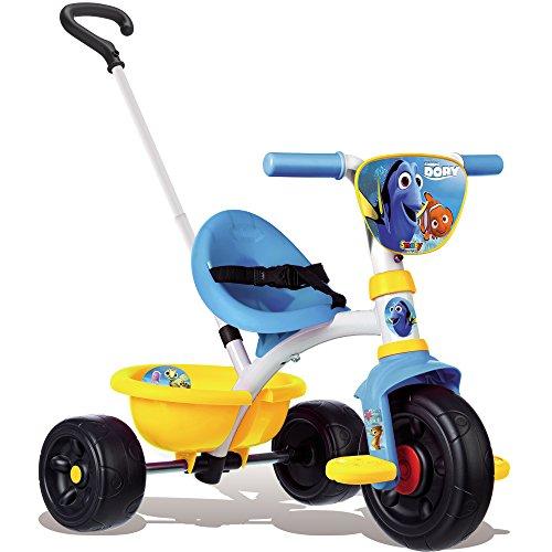 Preisvergleich Produktbild Dreirad 2 in 1 mit abnehmbarer Schiebestange aus Metall im DORY Findet Nemo Design, verstellbarer Sitz, Sicherheitsgurt und Kippwanne, Freilauf und Lenkblockierung, Schiebewagen Baby Trike ab 15 Monate