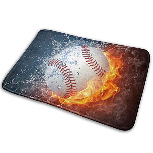"""Alysai Baseball Ball In Feuer Und Wasser Bad Teppich Badematte rutschfeste Gummi Mikrofaser Weiches Wasser Saugfähig Dicke Shaggy Fußmatten, Maschinenwaschbar, 24""""x 16"""""""