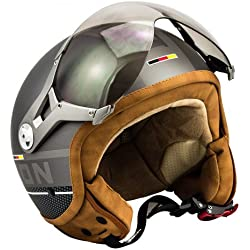 SOXON SP-325-PLUS Titanium · Urbano Retro Urban Piloto Vintage Casco Demi-Jet Cruiser Biker Moto motocicleta Vespa Scooter Mofa Chopper Bobber Helmet · ECE certificado · incluyendo parasol · incluyendo bolsa de casco · Gris · L (59-60cm)