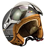 SOXON SP-325-PLUS Titanium · Helmet Jet-Helm Roller-Helm Mofa Retro Chopper Vespa-Helm Vintage Bobber Scooter-Helm Pilot Biker Cruiser Motorrad-Helm · ECE zertifiziert · inkl. Sonnenvisier · inkl. Stofftragetasche · Grau · M (57-58cm)