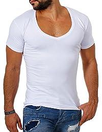 1964e5370286 Young Rich   Rerock Herren Uni T-Shirt mit extra tiefem V-Ausschnitt  Slimfit deep V-Neck Stretch dehnbar Einfarbiges…
