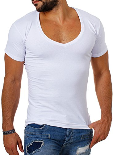Young & Rich / Rerock Herren Uni T-Shirt mit extra tiefem V-Ausschnitt slimfit deep V-Neck stretch dehnbar einfarbiges Basic Shirt 1315 , Grösse:XL;Farbe:Weiß (Baumwolle Herren V-neck T-shirts Unterhemden)