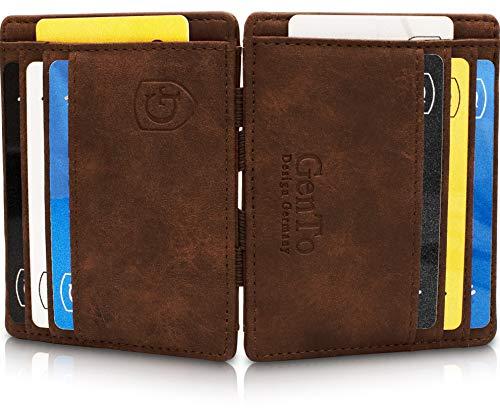 GenTo® Magic Wallet Monte Carlo - TÜV geprüfter RFID, NFC Schutz - Dünne magische Geldbörse ohne Münzfach - Geschenk für Damen und Herren - erhältlich in 3 Farben | Design Germany (Dunkelbraun - Soft)