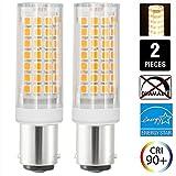 B15 LED Birne Ba15d 6 Watts LED Glühbirne 88SMD LEDs Nicht Dimmbar - Double Connect Bajonett 360° Lichtwinkel 700 Lumen - Ersatz für 70W Halogenlampen 2er Pack (Warm Weiß 3000K)
