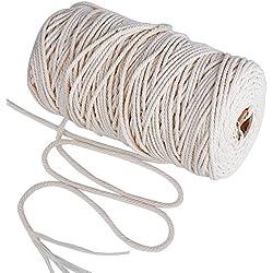 200m Cuerda de Algodón Hilo Macramé, 3 mm de diámetro