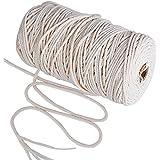 200m * 3mm Makramee Garn Natur Kordel Schnur Garn Baumwolle Kordel Baumwollegarn Baumwollschnur Rope für DIY Handwerk Basteln Wand Aufhängung Pflanze Aufhänger