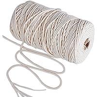 200m Cuerda Cordel de Algodón Hilo Macramé, 3 mm de diámetro, para Envolver Regalo