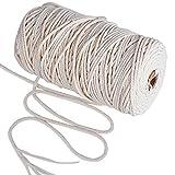 JNCH 140m * 3mm Makramee Garn Natur Kordel Schnur Garn Baumwolle Kordel Baumwollegarn Baumwollschnur Rope für DIY Handwerk Basteln Wand Aufhängung Pflanze Aufhänger