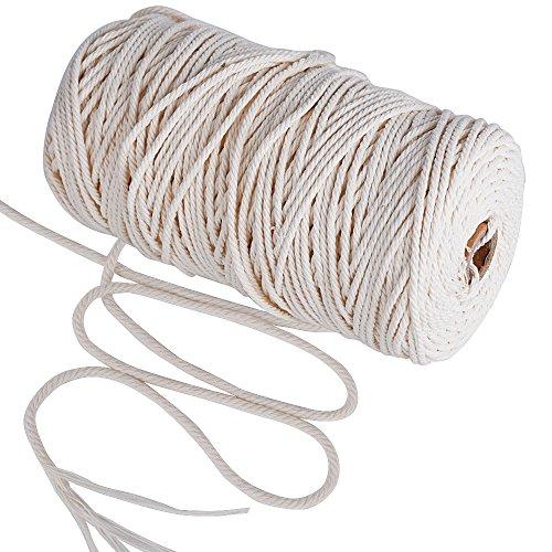 140m * 3mm Makramee Garn Natur Kordel Schnur Garn Baumwolle Kordel Baumwollegarn Baumwollschnur Rope für DIY Handwerk Basteln Wand Aufhängung Pflanze Aufhänger (Natürliches Garn)