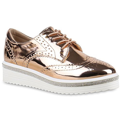 stiefelparadies Damen Schuhe Halbschuhe Dandy Brogues Plateauschuhe Metallic Profilsohle 132128 Rose Gold Autol 38 Flandell