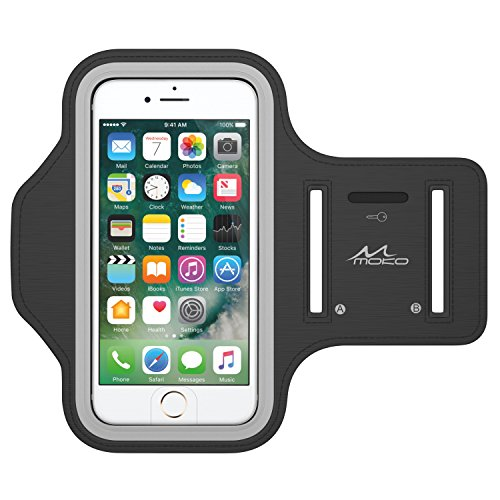 MoKo iPhone 7 Armband - Sweatproof Joggen Laufen Sport Armband Handy Hülle Schutzhülle + Schlüsselhalter Kopfhörer Anschluss für Apple iPhone 7, iPhone 6s / 6 Armband, Schwarz (Size L)